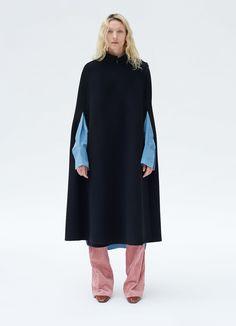 Wrap cape coat in washed double face cashmere | CÉLINE