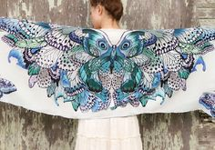 SILK Butterfly scarf, Hand painted Butterflies in Blue Aqua, stunning unique and useful, perfect gift Butterfly Scarf, Butterfly Costume, Butterfly Wings, Costume Papillon, Owl Scarf, Feather Scarf, Bird Wings, Angel Wings, Wedding Wraps
