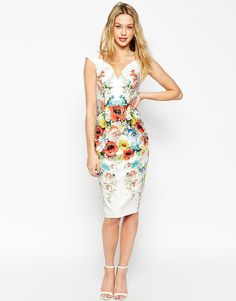 ASOS Placed Floral Hitchcock Pencil Dress