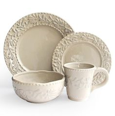 Bianca Leaf Gray 16 Pc Dinnerware Set - Fashion Plates: Dinnerware Sets for Less - Events
