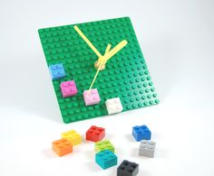 LEGO Plate clock with colorful bricks. << THIS WOULD WORK SO WELL WITH MY SYNESTHESIA.