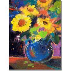 Trademark Art Yellow Blue Canvas Wall Art by Shelia Golden, Size: 35 x 47, Multicolor