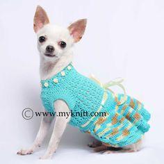 Turquoise Belle Dog Dress Ball Gown Handmade Crochet by myknitt