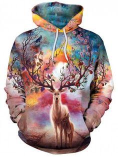 36e29718722c Sweat-shirt à capuche avec imprimé élan 3D de Noël Tie Dye Sweatshirt