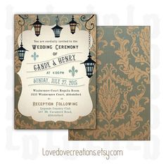 Bon Wedding Invitation Card   Printable // New Orleans Lanterns