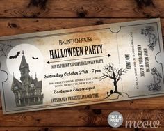 Halloween Invitations Haunted House Tickets Invites Party Printable INSTANT DOWNLOAD Bat Spooky Scare Personalized Editable Edit & Print by wowwowmeow on Etsy https://www.etsy.com/listing/469625271/halloween-invitations-haunted-house