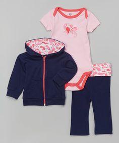 Pink & Navy Paisley Bodysuit Set - Infant