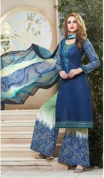 Navy Blue Color Simple Cotton Stitched Palazzo Dresses with Dupatta…