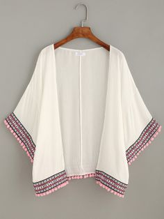 Kimono pompones bordado-Sheinside