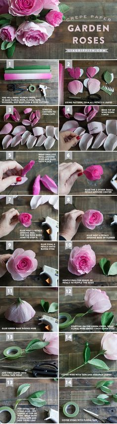 DIY Crepe Paper Ombré Garden Roses - Lia Griffith - - Make this gorgeous ombre crepe paper rose bouquet using my printable template and step-by-step tutorial! You are sure to impress your valentine this year. Tutorial Rosa, Rose Tutorial, Paper Flower Tutorial, Handmade Flowers, Diy Flowers, Fabric Flowers, Crepe Paper Roses, Tissue Paper Flowers, Paper Peonies