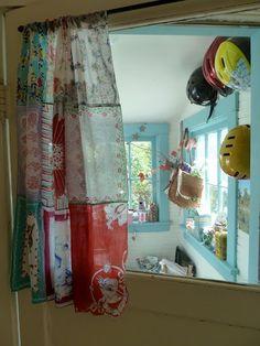 craft room/office - curtains with vintage hankies