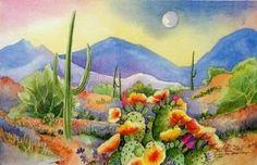 Silver Moon-Print-Southwest Art-Desert Landscape-Cactus-JUMP | BarbaraSpencerJump - Print on ArtFire