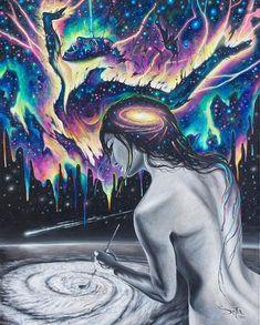 """3,959 """"Μου αρέσει!"""", 9 σχόλια - Psychedelic and Visionary Art (@psychedelic.paint) στο Instagram: """"The nitrogen in our DNA, the calcium in our teeth, the iron in our blood, the carbon in our apple…"""""""