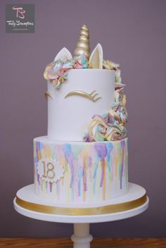 When given the brief of rainbows and unicorns there is only one way to combine the two…a watercolour rainbow unicorn Loved this so much I didn't want it to leave the kitchen