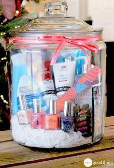 "Love the idea of creating a ""girl's night in"" or ""spa in a jar"" present for a girlfriend."