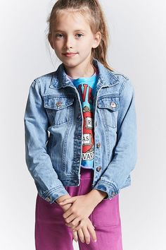 Forever 21 Girls - A denim jacket featuring a basic collar, button front, chest flap pockets with button closure, slanted front pockets, and long buttoned sleeves.