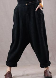 new black oversize linen trousers women vintage pants Linen Trousers, Trousers Women, Vintage Pants, Minimal Fashion, Minimal Style, Black Linen, Cotton Pants, Fashion Pants, Women's Fashion