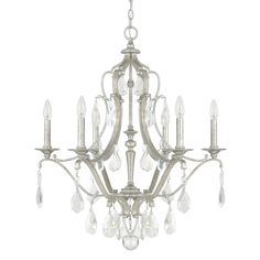 Capital Lighting Fixture Company Blakely Antique Silver Six Light Chandelier With Clear Crystals On SALE