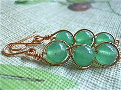 Earrings of Aventurine and Copper by JoJosgems on Etsy, $16.00