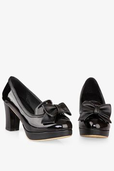 5574732aa316 Black Heels With Bows Cute Shoes