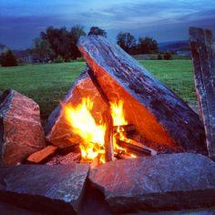 Natural granite stone fire pit