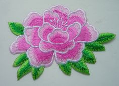 PT155 3Tone Peony Flower Embroidery Patch Pink Iron On