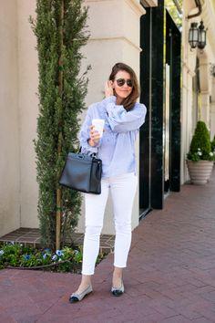 Blue & White Stripe Blouse - Dallas Wardrobe