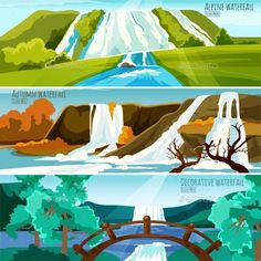 Waterfall Landscapes Banners by macrovector Horizontal banners collection with colorful pictures of waterfall landscapes in mountains flat vector illustration. Editable EPS a