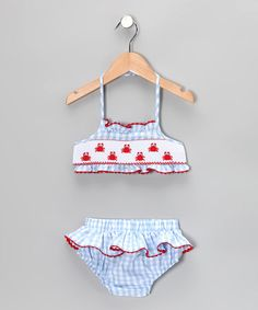 Take a look at this Blue Gingham Crab Skirted Bikini - Infant & Toddler by Candyland on #zulily today!