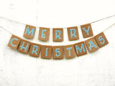 Aqua Beach MERRY CHRISTMAS Garland Rustic by LazyCaterpillar, $40.00