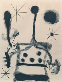 Black & White Lithograph By Artist Joan Miro Spanish 1893-1983