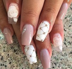 Nail art design on coffin nails | decorado de unas | summer  and fall nail art