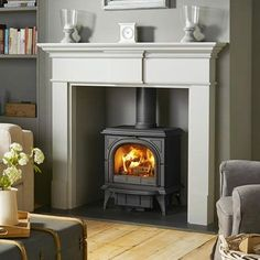 Super Wood Burning Stove Fireplace Fire Surround Log Burner Ideas – Home – fireplace Wooden Fire Surrounds, Wooden Fireplace Surround, Wood Burner Fireplace, Freestanding Fireplace, Home Fireplace, Fireplace Hearth, Living Room With Fireplace, Fireplace Surrounds, Fireplace Design