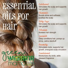 Essential Oils for Hair: Whether you're concerned about hair loss, thinning hair, or hair that grows slow, try adding doTERRA essential oils to your hair care products for health-boosting benefits, beautiful shine and softness, and intoxicating natural fragrance. Get more ideas at http://www.greenwarriormama.com.