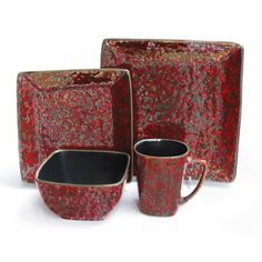 Amazon.com: American Atelier Mojave Square 16-Piece Dinnerware Set, Red: Kitchen & Dining