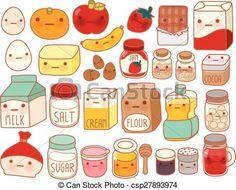 Kawaii Food Illustration Kawaii Drawings, Cute Drawings, Fruits Kawaii, Chibi Kawaii, Cute Egg, Doodles, Food Substitutions, Food Swap, Cake Ingredients