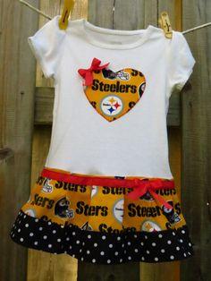 Pittsburgh Steelers cheerleader shirt or onesie dress by SMPstore, $27.95