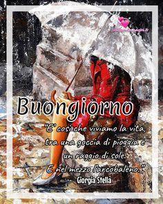 Immagini con frasi per Buongiorno oggi piove Italian Memes, Cool Words, Good Morning, Movie Posters, Nostalgia, Aphrodite, Weather, Pictures, Universe