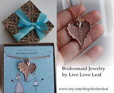 Be My Bridesmaid Jewelry Gift Ideas   Rose Gold Cottonwood Leaf Pendant/ Necklace