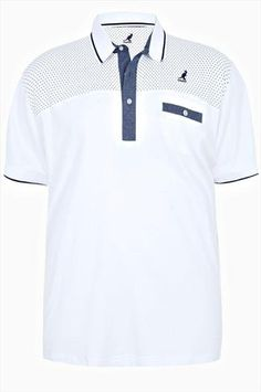 White Short Sleeve Polo Shirt With Dot Detail