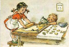 Cute children's illustration (illustration of a little boy with a cat and a girl preparing dough with a rolling pin) Children's Book Illustration, Vintage Cards, Vintage Children, Illustrators, Art For Kids, Fairy Tales, Drawings, Artwork, Prints