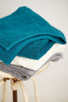 Lassen Quilted Towel Collection - anthropologie.com $18-$58 **get all three colors for that blue pop of color you want!