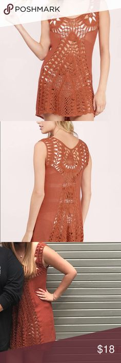 Crochet Dress Tobi, burnt orange/rust dress. Only worn one time! Perfect as a beach coverup or with a slip underneath! Tobi Dresses Mini
