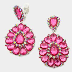 "Be noticed on stage with these gorgeous pageant earrings for your next runway pageant! Also great for head shots, prom and homecoming! Great size at 1.75"" W x 3.25"" L  - Comes in many different colors Fuchsia Pageant Earrings 