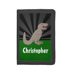 Personalized T-Rex Dinosaur Boys Tri-fold Wallet - click to get yours right now!
