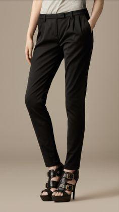 Pleat Detail Cotton Blend Trousers | Burberry