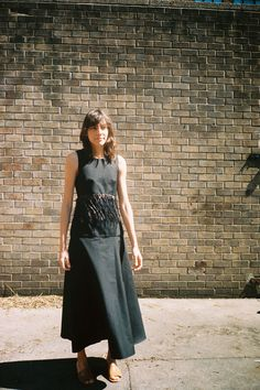 RAFFIA TRIM SLEEVELESS DRESS, BLACK