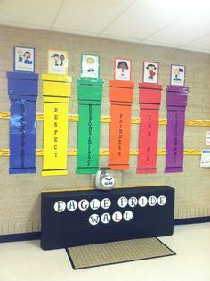 Pillars of Character Wall Counseling Bulletin Boards, Elementary Bulletin Boards, Kids Bulletin Boards, Elementary Counseling, School Counselor, Character Activities, Teaching Character, Character Education, 6 Pillars Of Character