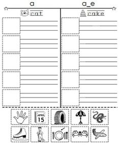 2 free Worksheets--Short A-vs-Long A--Cut, Paste, and Spell