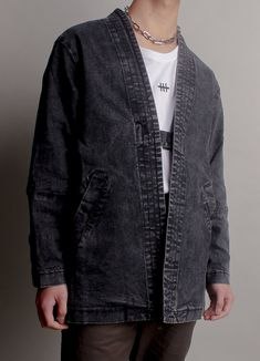 Japanese Kimono Dark Denim Wash Unisex Jacket   Consttant Male Kimono, Kimono Jacket, Jean Jacket Outfits, Jacket Style, Fall Jackets, Jackets For Women, Black Denim Jeans, Dark Denim, Kimono Fashion